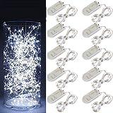 FullBerg 10er 2M 20 LED Lichterkette Kupfer mit Batterie, Wasserdichte Drahtlichterkette Lichterkette für Party Garten Weihnachten Neujahr Hochzeit Beleuchtung Dekoration (Kaltweiß)