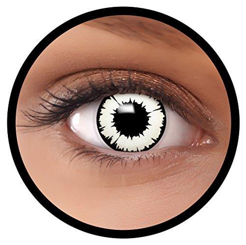 FXEYEZ® Farbige Kontaktlinsen weiß New Vampir + Linsenbehälter, weich, ohne Stärke als 2er Pack - angenehm zu tragen und perfekt zu Halloween, Karneval, Fasching oder Fasnacht