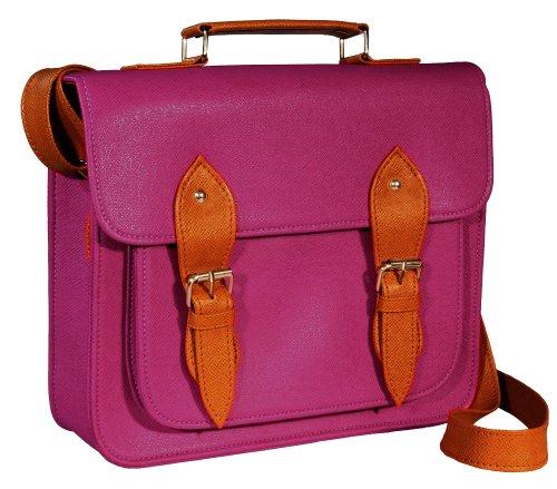 #GB0001L# Tasche Handtasche Vintage Satchel Bag Kunstleder Schultertasche Umhängetasche in purple/plum (Plum-handtasche)
