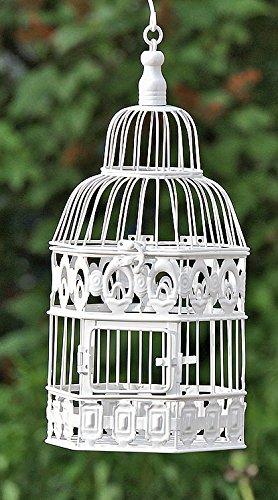Galleria fotografica Arredamento, decorazione giardino - gabbia per uccelli, volatili di piccola dimensione - stile: shabby chic, rustico - materiale: metallo - colore: bianco - dim. ca 39 cm