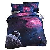 bennyuesdfd Bettwäsche Galaxy 3D Sets Baumwolle 3D Digitaldruck Weltall 2 Teilig Bettbezug Weltraum Galaxie Sterne Planeten (Lila, 150 x 210 cm)