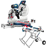 Bosch GCM12GDL 12in Dual Bevel Glide Mitre Saw + GTA2500W Gravity Rise Stand 0601B23660 + 0601B12100 110V