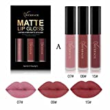Lippenstift Matt, HUIHUI 3pcs Liquid Lipstick Set Schönheit Lippe Gloss Long Lasting Moisturizing Lippenstift Lip Gloss Fashionable Colors Matte Liquid Lipstick (A)