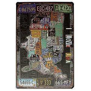 USA Map Sign I Love USA Retro Vintage Tin Plaque Bar Pub Wall Decor