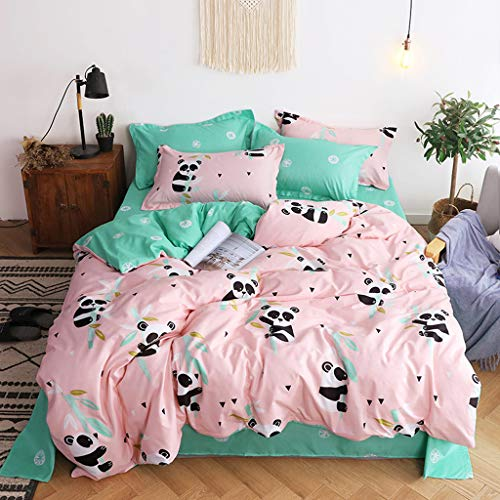 Cenday Ensemble Von Literie Mignon Panda Vert Rose Von 4 Dekorationen FüR Coucher Komfortabler Drap Housse Valeur Quatre Ensembles Von Costume Naturel - Roten Bett Ensemble