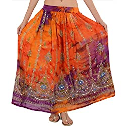 Faldas bufandas rayón Tie Dye Largo de Lentejuelas Maxi Falda Naranja Multi 23 Talla única