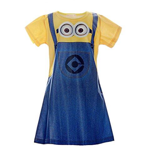 Kleid Minions Kostüm Rundausschnitt Kurzarm Digitaldruck Kinder A Linie Kleid, Blau, 140 (Mädchen Minion Geburtstag Party)