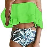 LILICAT Conjunto de Bikini Impreso para Mujer, 2 Pcs Traje de Baño Acolchado Push-up?? Parte de Arriba Bikini con Volantes + Bikini Braga Alta Tanga Bikini Playa (XL, Verde)