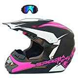 GTYW Motocross-Helm, Rallye, Helm, Kinder, Erwachsene, Langstreckenrennen, Mountainbike, Rennradhelm, Sonnenblende (S-XL),Pink-L=56-57CM