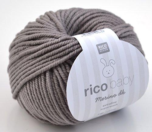 Rico Baby Merino dk 006 - kiesel, Babywolle aus Merinowolle extrafine zum Stricken und Häkeln, Merinowolle Babywolle Rico Merino - Baby-merino-wolle