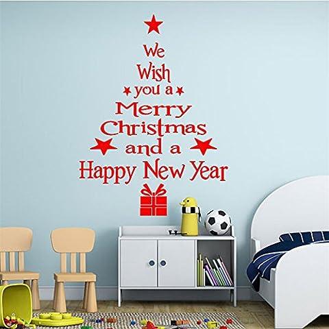 Tutoy Autocollant amovible de l'arbre de Joyeux Noël Accueil Décoration des fêtes -Red