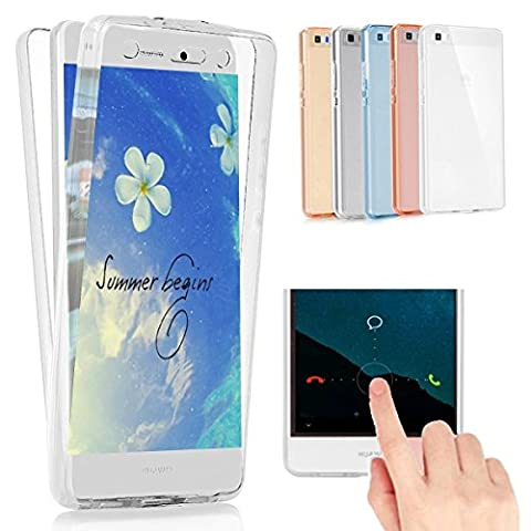 Felfy Huawei P9 Lite Case,Huawei P9 Lite Cover Case, 360 Degree Protection Full Body Transparent Clear with Glitter Cover Soft TPU Silicone Flexible Anti-Scratch Abrasion Resistance Cover Case Smart Phone Shell for Huawei P9 Lite + 1 Sliver Stylus Pen + Bling Dust Plug.White