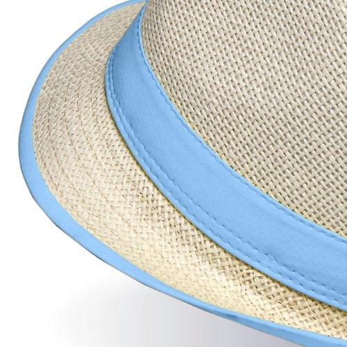 CASPAR - Panama unisexe / chapeau avec bords colorés - 2 modèles - plusieurs coloris - HT001 No.2 bleu clair