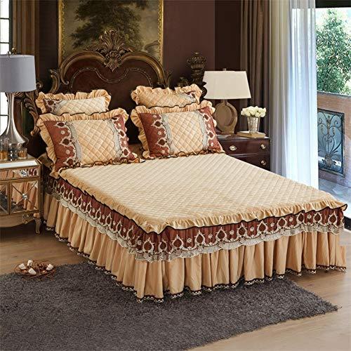 Kristall-samt Bettüberwurf, Gekräuselt Bett Rock Tagesdecke Falten Bett Dekoration Wrap Ruffle Stil Mit 19