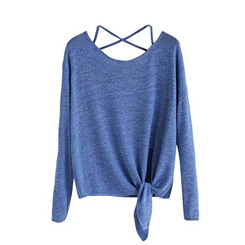ESAILQ Frauen Casual Solid Crisscross Zurück Knot Half Sleeve Bluse T-Shirt (S, Blau)