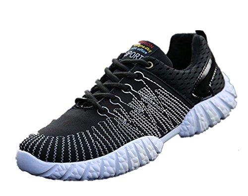 Wealsex Baskets Basse En Mesh Léger Chaussures de Sport Course Fitness Gymnastique Compétition Entraînement Respirante outdoor Homme Noir
