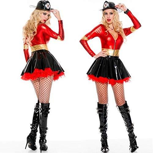 WEII Erotische Kleidung Pu Kunstleder Sexy Feuerwehrmann Kostüm Thema Party Maskerade Kostüm,Bild,XL (Fußball Themen Kostüm)