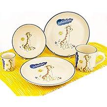 Kindergeschirr Set mit Wunschname 4tlg Elefant Keramik Teller Müslischale Tasse