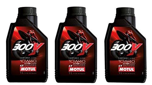 Olio Motore 4T Moto - Motul 300V Factory Line Road Racing 10W-40, 3 litri (3x1 lt)