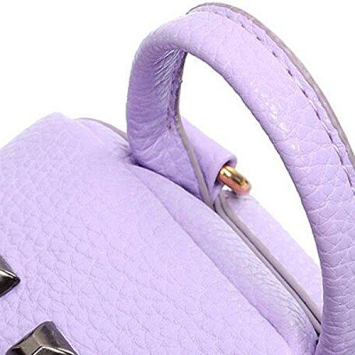 Mini-Niet-Leder-wasserdichte Damen-Mappen-Rucksack-Beutel,LightGold LightGold