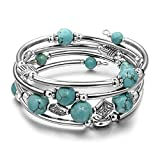 JIAYIQI Bracelet Perlé Turquoise Multicouche Bohème pour Femme