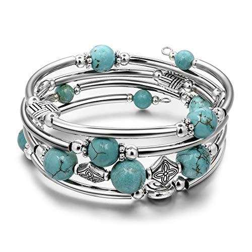 JIAYIQI Bracelet Perlé Turquoise Multicouche Bohème pour...