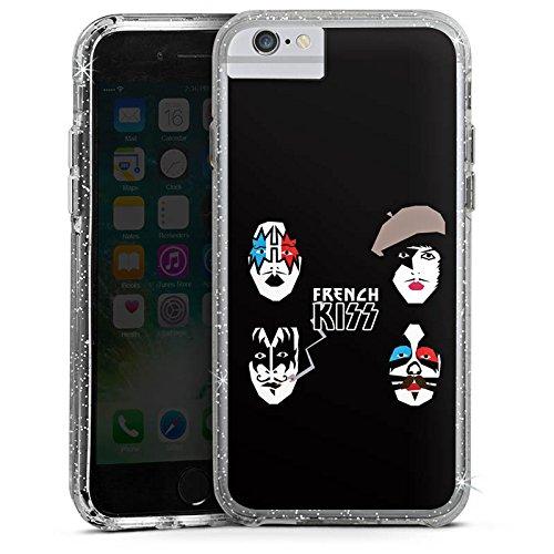 Apple iPhone 6 Bumper Hülle Bumper Case Glitzer Hülle French Kiss Rock Kiss Bumper Case Glitzer silber