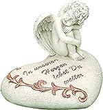 Bo Trauerengel Gedenkstein Engel auf Herz beige Spruch (In unserem Herzen lebst Du weiter)