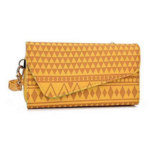 Kroo Pochette/étui style tribal urbain pour Yezz ANDY c5vp/c5ql Multicolore - White and Orange Multicolore - jaune