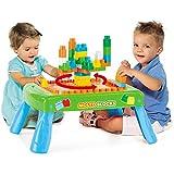 Spieltisch mit Bauplatte, 50 Steine, Beine klappbar, ab 1 Jahr - Kinder Bautisch Lerntisch Spielzeug Steck Baustein