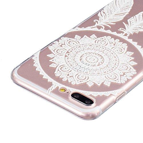 iPhone 7 Plus Hülle,SainCat iPhone 7 Plus Silikon Hülle Tasche Handyhülle Cartoon Retro Muster [Löwenzahn] Schutzhülle Transparent TPU Gel Case Bumper Weiche Crystal Kirstall Clear Silikonhülle Durchs Weiß-Campanula Feder
