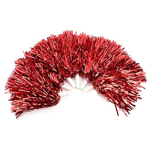 6 Stück Cheerleading Poms, Durable und Lightweight Pompoms Cheer Gorgeous für Jubel Squads, Spieler, Spiele, Partys, Tänzer und Publikum(rot)