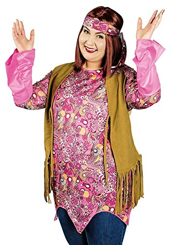 Hippie Damen Kostüm California für große Größen - Tolle Tunika, Weste und Stirnband für 70er Jahre Party - Gr. 44 46 (70er Jahre Party Outfits)