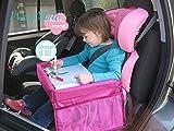 WAZE Kinder Reise Spiele Tablett Autositz Runde Kinder Tablett Kleinkind Autositz Organizer für Bus Auto Zug Flugzeug Indoor Outdoor reisen (Rot)