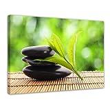 Kunstdruck - Zen Steine V - Bild auf Leinwand - 80x60 cm 1 teilig - Leinwandbilder - Bilder als Leinwanddruck - Geist & Seele - Asien - Wellness