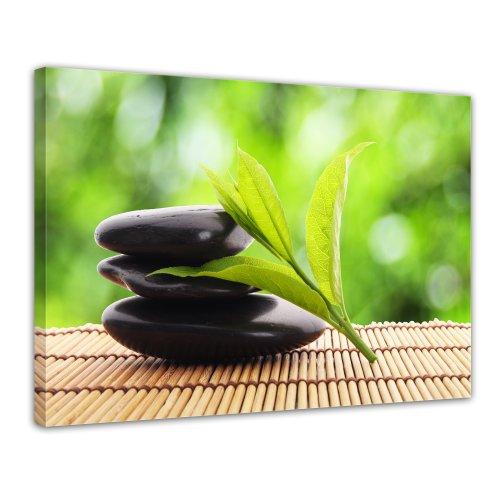 Wandbild - Zen Steine V - Bild auf Leinwand - 80x60 cm 1 teilig - Leinwandbilder - Bilder als Leinwanddruck - Geist & Seele - Asien - Wellness