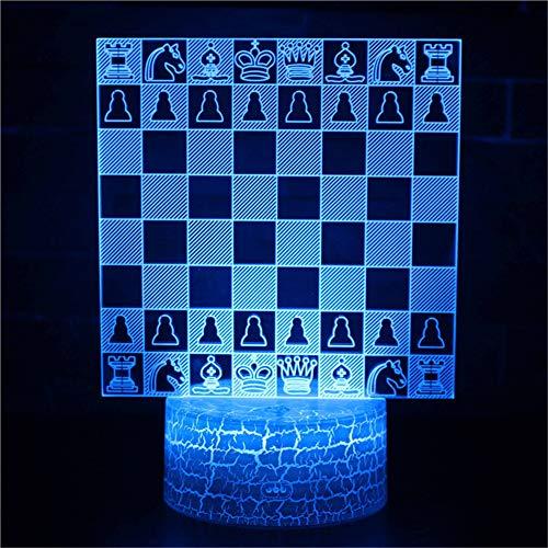 3D Optisches Nachtlicht Nachttischlampe Für Kinder LED Tischleuchte Dekoratives Licht 7 Farben Andern Touch Switch Acryl USB Batterie Crack Basis International Chess Fernbedienung