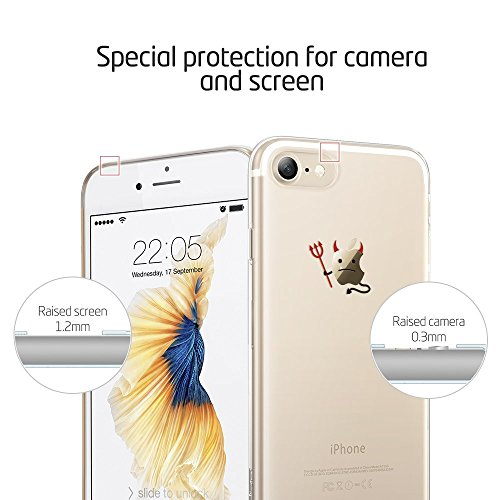 Coque iPhone 7 Mouton, ESR iPhone 7 Coque Transparente Silicone Gel TPU Souple avec Cute Motif Dessin Mignon Imprimé, Housse Etui de Protection Bumper Premium [Anti Choc] [Ultra Fine] [Ultra Léger] [L Lapin et Fleurs