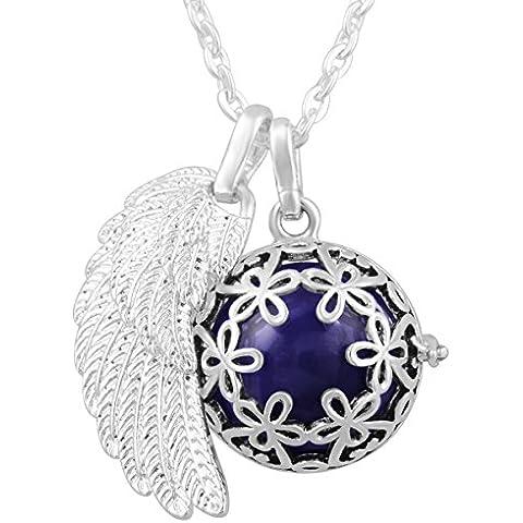 Eudora Harmony suoni Bell pendente a forma di ali d'angelo, armonioso-Collana gravidanza, colore: argento