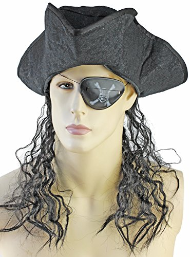 itz Hut mit Haaren schwarz (Piraten Maske Für Erwachsene Mit Hut)