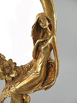 Schminkspiegel GOLD golden Stehspiegel Frisierspiegel Tischspiegel Standspiegel SPIEGEL Antik rustikal im Jugendstil / Gründerzeit