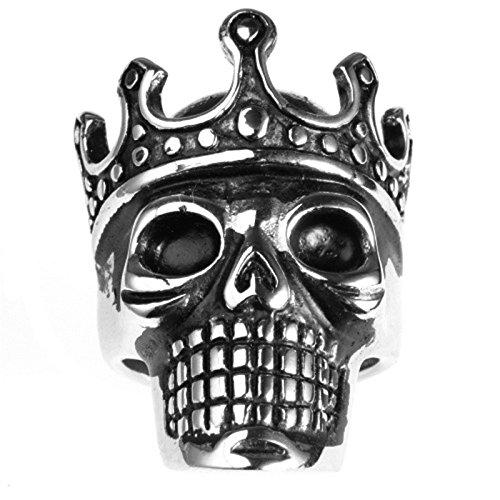Bishilin Edelstahl Ring Herren Krone Schädel Totenkopf Partnerring Gothic Ring Silber Gr.65 (20.7)