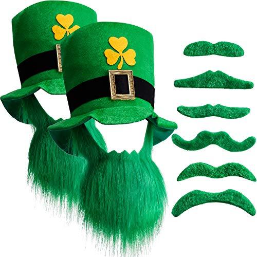 Mit Kostüm Schnurrbärten Und - Chuangdi St. Patricks Day Kobold Zylinder und Bart mit 6 Grünen Schnurrbärten (2 Set)