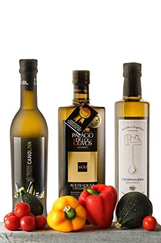 Olio extravergine di oliva. extra 3x500ml vergine di oliva. premium pack. vi presentiamo 3 dei migliori oli oliva. tre eccezionali extra vergine. confezione un regalo ideale con olio naturale. salute e piacere nello stesso piatto. acquistare questi oli e di aderire al cibo sano, naturale e meraviglioso.