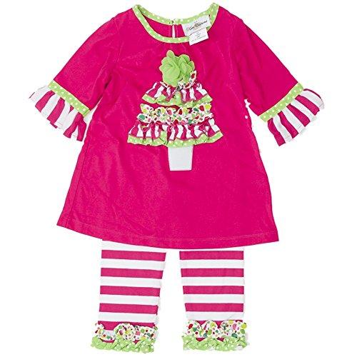 Rare Editions Kinder Mädchen Santa Kleid + Leggings Hose Weihnachtsbaum pink grün 92 (Weihnachten Rare Editions Kleid)