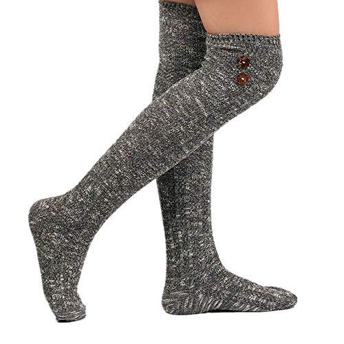 FIRSS Damen Knopf Kniestrümpfe | Thermische Socken | Strick Sportsocken | Retro Hohesocken | Casual Lose Elastisch Strümpfe