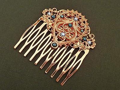 Peigne à cheveux en or rouge avec ornement de gouttes en filigrane