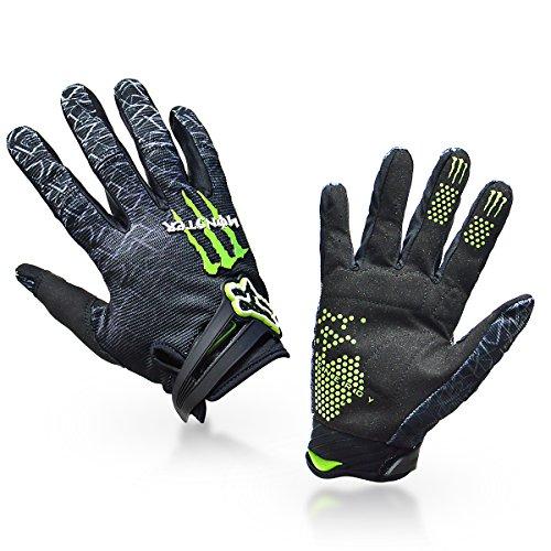 1-Paar-Ludan-Ungeheuer-Hohe-Qualitt-Schwarz-Nylon-Volle-Finger-Handschuhe-Schutz-Offroad-Enduro-Fahrradhandschuhe-M-L-XL-Gre-M