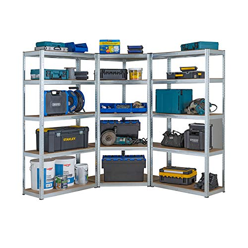 Heavy Duty galvanisé Garage étagère de coin kit, 1 Unité de coin 1800 mm x 900 mm x 400 mm et 2 étagères 1800 mm H x 900 mm L x 400 mm D de stockage haute capacité de 2625 kg