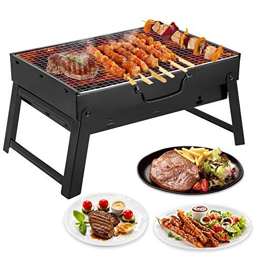 Mbuynow grill barbecue carbone griglia barbecue per 4-6 persone cottura alla brace ottima griglia trasportabile per cuocere carne pesce verdure pane bruschettato ecc (per 4-6 persone)